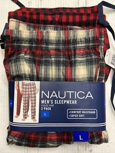 NEW 2 PACK Size 36 38 LARGE mens NAUTICA Sleepwear Pants pajama Red plaid