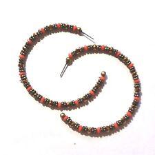 """Hoop Earrings Beaded Orange Brass Gold (JN89) 2.5"""""""