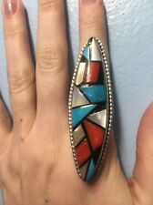 Zuni Inlay Turquoise Coral Onyx Silver Ring