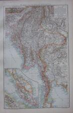 1893 Large Antique Carte ~ Burma Malay Péninsule Siam Chine Yun-Nan Sumatra