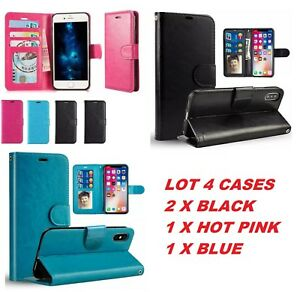 LOT 4 SAMSUNG note 10 plus iPhone 11 Pro XR Leather Flip Wallet Case Pouch Cover