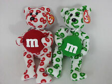 SET of 2 Ty M&M Bears - Walgreen's Exclusives  Beanie Babies RED GREED