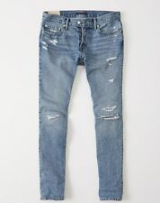 NWT ABERCROMBIE & FITCH MEN RIPPED SKINNY LIGHT WASH ICONIC DENIM JEANS 34  x 32