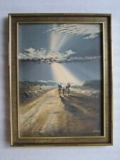 """VINTAGE K. SATO (1906-1978)""""RODE TO HOPE"""" OIL ON CANVAS PAINTING SIGNED ORIGINAL"""