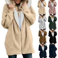 Women Ladies Warm Teddy Bear Fluffy Coat Hooded Fleece Jacket Outwear Plus Size