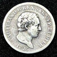 ITALY STATES 50 CENTESIMI 1825- SARDINIA EXTREMELY RARE  KM# 124.1