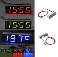 Digital LED Electronic Clock Time + Thermometer + Voltmeter for 12V Car 5-20V