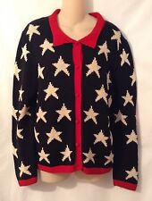 Chompas Black Red Ivory 100% Cotton Button Up Cardigan Sweater Size Medium