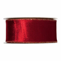 "Wine Red Christmas Velvet fabric ribbon 50mm/2"" Wide x 8m Roll Gold Wired Edge"