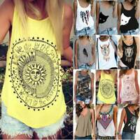 Womens Boho Tank Tops Cami Blouse Comfy Summer Casual Sleeveless Vest Plus Sizes