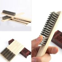 LOT OF 6-30SS Wood Small Handle Stainless Steel Wire Scratch Brushes