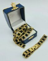 Vintage Gold bib necklace bracelet set round barrel Chunky chain link Statement