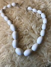 Minimalist White Oval Bead Vintage Necklace Goodwood Revival Rockerbilly Retro