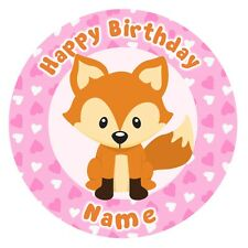 ND3 cute fox foxy pink personalised round cake topper icing