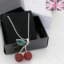 KITSCH gliterring CHERRY PENDANT&LONG CHAIN necklace set SILVER PLATED avon esta