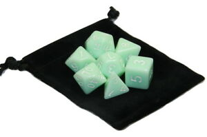 Wiz Dice 7 Die Polyhedral Set Ghost Jade Opaque Light Green With Dice Bag