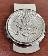 Anheuser Busch Budweiser Eagle A Logo Silver Tone Metal Money Clip
