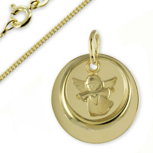 Taufkette Gravur Platte Taufring mit Engel-Echt Gold333(8Karat)- & Silberkette