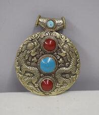 Tibetan Repoussé Silver Red Howlite Turquoise Double Dragon Pendant