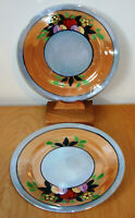 Pair of 2 Apple & Blossoms Trico Hand-Painted Lustreware China of Japan Luster
