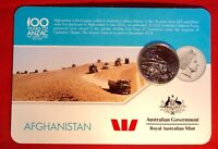 2016 Anzac To Afghanistan 20 Cent Australian Coin Carded Unc. Afghanistan