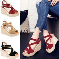 Women Casual Open Toe Strape Sandals Platform Wedge Shoes High Heels Fashion New