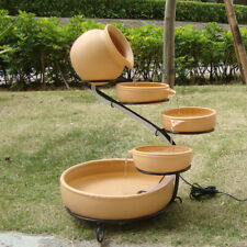 Round 4 Tier Solar Powered Planter Water Feature Fountain Herbs Plant Pot F3