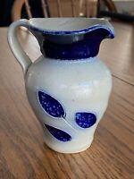 VTG Hand Thrown Pottery Mini Pitcher Blue Floral Hand-Carved Cobalt Salt Glaze