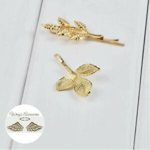 (New) Alloy 3/5 leaves hair pin. Unique, beautiful and elegant.