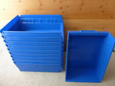 ULINE blue plastic storage bins lot of 10 S-13398 in excellent clean condition