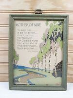 Vintage Framed Poem Mother Of Mine Motto Quote Art Print Reliance P.F. Co.