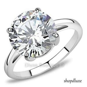 4.90 Ct Round Cut CZ Solitaire Stainless Steel Engagement Ring Women's Size 5-10
