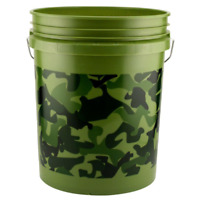 5 Gallons Camouflage Multipurpose Plastic Pail Bucket Bin Foam Handle New Camo