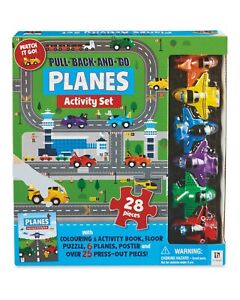 Pull-Back&Go Planes Activity Set-With Colouring Book- Poster + Press out Pieces