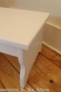 """Handcrafted Heavy Duty Step Stool 24""""Long 7.5"""" high, Wood Kitchen Bedside, White"""