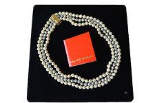 MIKAWA -  3 Fili di Perle AKOYA naturali diametro mm 7x6,5 - mm6,5x6  Oro 18 Kt