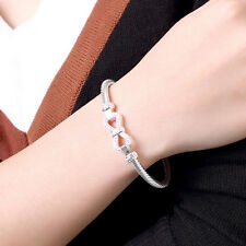 925 Sterling Silver Plated Infinity Love bow knot Bracelet Bangle fashion gift