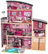 Barbie Size Wooden Dollhouse w/ Furniture Girls Playhouse Doll Play House Gift