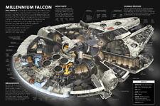 STAR WARS Millennium Falcon Cutaway Drawing Blueprint Wall Art Picture Prints A3