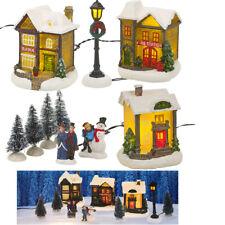 Village de Noël Lumineux LED 10 pièces miniature - sapin de Noël, bonhomme...