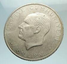 1960 Turkey 27 May REVOLUTION - Silver 10 Lira Coin Mustafa Kemal Atatürk i77002