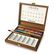 Sennelier 24 Luxury Half Pan Artist Watercolour Wooden Box Set
