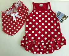 Pup Crew Red White Polka Dot Bow Dog Dress And Scarf Size L NWT