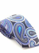 $100 Geoffrey Beene Men Blue Black Paisley Silk Tie Classic Skinny Necktie 58x3