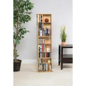 Media Tower Rack Storage CD DVD Shelf Cabinet Organizer Stand Holder Maple New