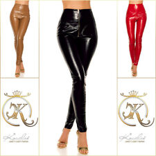 KouCla High waist WETLOOK aspecto de cuero pantalones con Zip