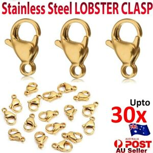Stainless Steel LOBSTER CLASP Gold Plated Claw Jewelry Finding Hook Charms 10mm