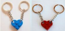 LEGO 2 x Love Heart Keychains Dark Red & Blue Keyring Valentines Gift Birthday
