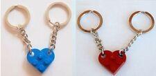 LEGO 2 x Love Heart Keychains Dark Red & Blue Keyring Valentines Gift Birthday