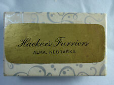 vtg Alma Nebraska Haeker's Furriers fur advertising box w Christmas note inside